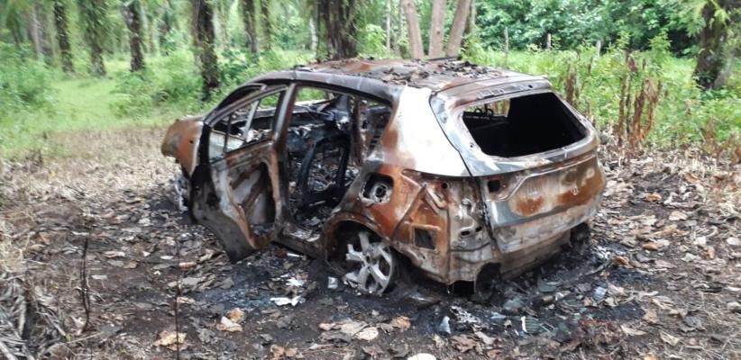 OIJ confirma que auto hallado calcinado en la frontera tica es de matrícula panameña