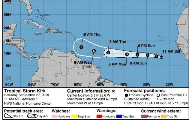 Kirk con riesgo de inundaciones y deslizamientos rumbo a las Antillas Menores