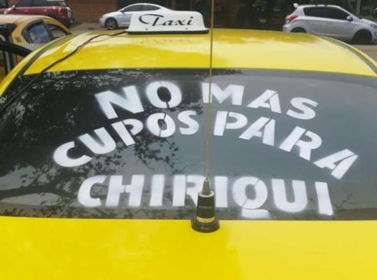 Movimiento en Chiriquí en contra del otorgamiento de más cupos de taxi