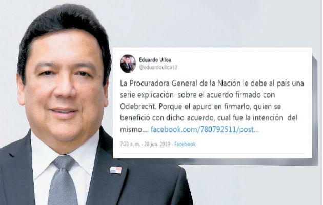 El tuit de archivo más comentado del ahora procurador designado, Eduardo Ulloa. Ilustración Panamá América