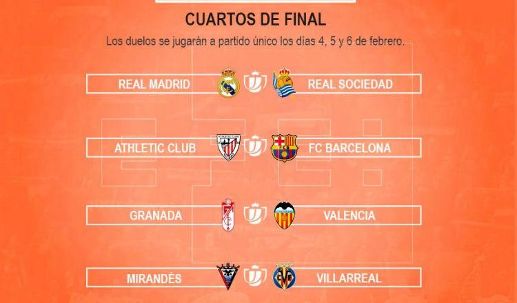 Real Madrid se mide a la Real Sociedad y Athletic ante Barça en los cuartos de final de la Copa del Rey
