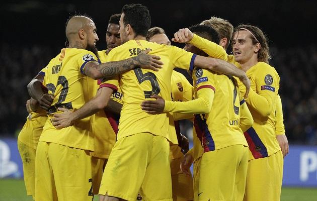 Barcelona rescata empate en casa del Nápoles en la ida de octavos de la Champions