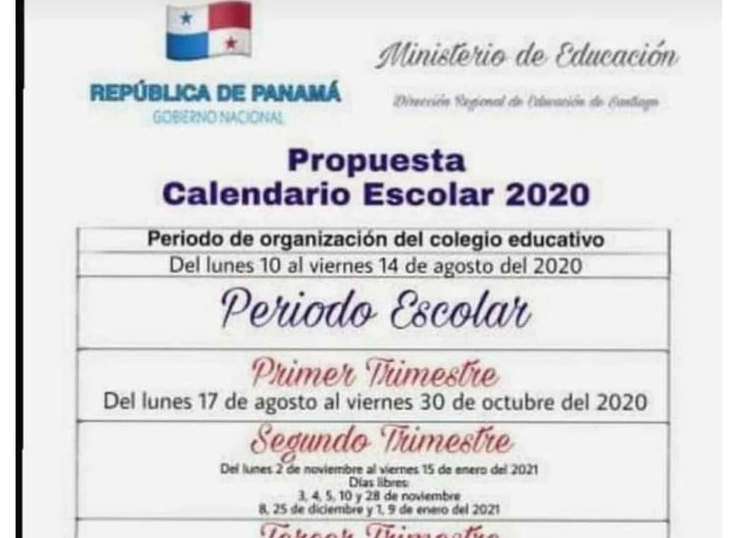 Es falso que el Meduca emitió propuesta del nuevo calendario escolar 2020