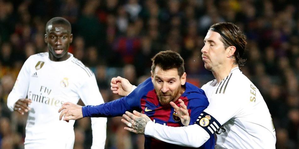 Messi del Barcelona y Sergio Ramos del Real Madrid. Foto:EFE