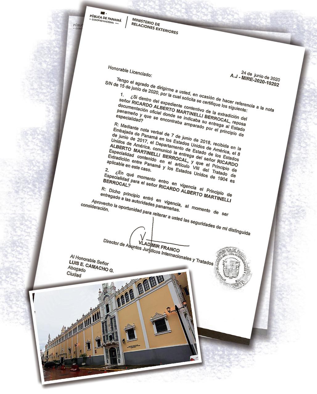 Cancillería confirmó que Ricardo Martinelli tiene el Principio de Especialidad