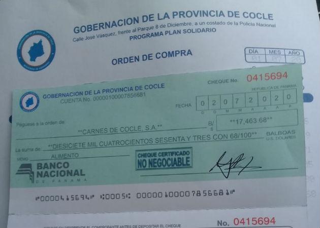 Alertan de circulación de cheques falsos con logos de la Gobernación de Coclé