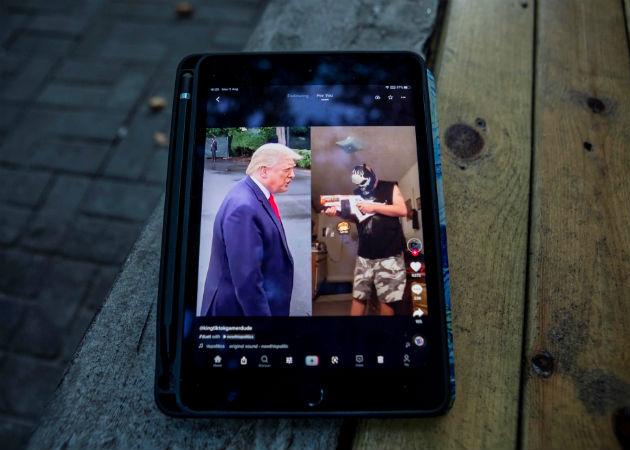 Vista del presidente Trump, en una pantalla con una publicación de la aplicación de TikTok, el 3 de agosto de 2020 en Shanghai (China). Fotos: EFE.