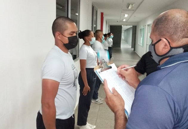 El uso de mascarilla es obligatorio en la Esopol. Foto cortesía Policía Nacional.