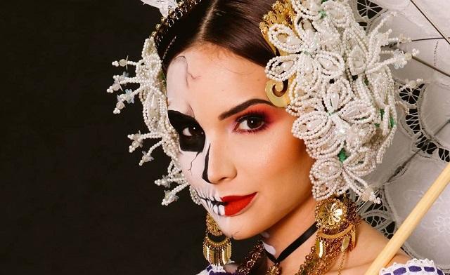 Sheldry Sáez recibe críticas por vestir la pollera usando un maquillaje que no va acorde al traje típico