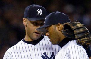 Jeter  y Mariano en un juego. AP