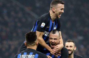 Jugadores del Inter festejan. AP