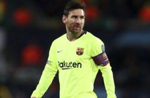 Lionel Messi durante el partido ante el United. AP