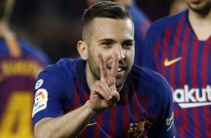 Jordi Alba celebra su gol ante Real Sociedad. AP