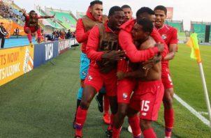 Panamá se impuso a Arabia Saudita por 2-1, en el Mundial de Polonia, Diego Valanta, festeja. @Fepafut