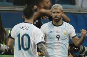 Sergio Agüero (9) sentenció la victoria de Argentina. AP