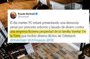 Mensaje colgado en Twitter por Ricardo Martinelli. Ilustración Panamá América