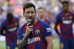Leo Messi se lesionó el sóleo de la pierna derecha. Foto AP