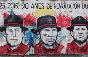 Los grupos originarios también son plasmados en estos murales públicos, como expresión de la celebración de los 500 años de la ciudad. EFE