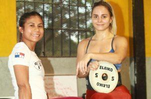 Erika Ortega y Andrea de la Fuente durante un entrenamiento.
