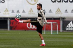 Eden Hazard en los entrenamientos. Foto:Twitter