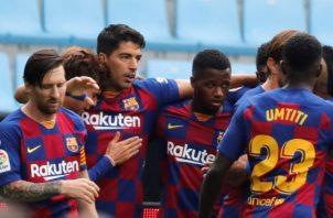 Jugadores del equipo del Barcelona. Foto:EFE
