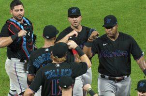 Jugadores de Marlins de la Florida. Foto:EFE
