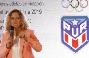 La presidenta del Comité Olímpico de Puerto Rico (Copur), Sara Rosario. Foto:EFE