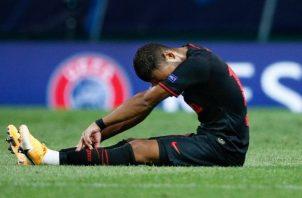 Renan Lodi lamenta la eliminación del Atlético Madrid. Foto:EFE