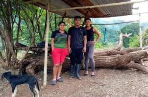 Los tres jóvenes llegan todos los días al sitio para poder conectarse a internet por medio de un celular. Cortesía