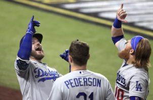 Los Dodgers festejan su tercera victoria ante Tampa Bay. Foto:EFE