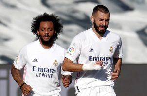 Marcelo y Benzema Foto:EFE