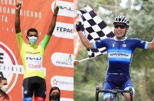Christofer Jurado, líder de la Vuelta a Chiriquí con la camiseta amarilla y el guatemalteco Alfredo Ajpacaja ganador de la etapa de ayer. Foto:Fepaci