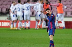 El centrocampista del Barcelona, Pedri, tras encajar el primer gol ante el Eibar. Foto:EFE