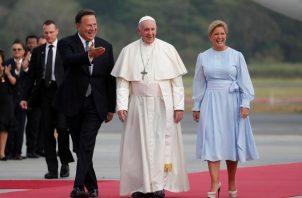 La alfombra roja fue utilizada para darle la bienvenida a Panamá al papa Francisco, el 23 de enero de 2019.