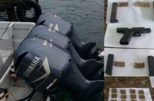 Al ser revisada, los agentes del Servicio Nacional de Fronteras (Senafront) encontraron, que la embarcación tenía tres motores fuera de borda, cada uno con 200 caballos de fuerza.