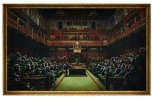 """Se espera que """"Devolved Parliament"""" alcance un récord en subasta para una obra de Banksy el 3 de octubre. Foto/ vÍa Sotheby's."""