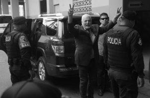 El expresidente Ricardo Martinelli Berrocal, el pasado viernes 9 de agosto, antes de entrar a escuchar el veredicto absolutorio de los cuatro cargos que se le imputaban. Foto: Víctor Arosemena.