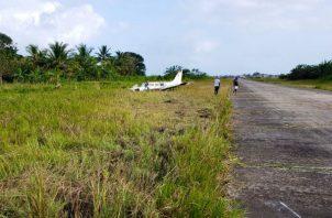 Avioneta sufre accidente cuando aterrizaba en aeródromo regional de Guna Yala. Foto: Aeronáutica Civil.