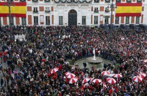 Aficionados de River Plate en el centro de Madrid. Foto EFE