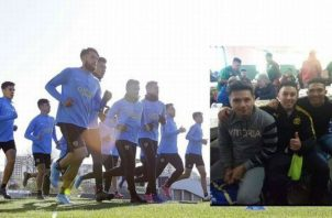 Jugadores de Boca durante un entrenamiento. Foto @BocaJrsOficial