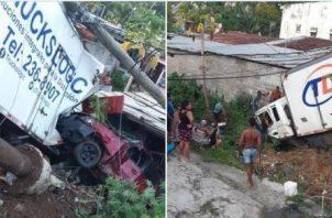 Camión perdió el control, chocó contra siete autos y una casa; hay tres heridos. Foto: Redes sociales.