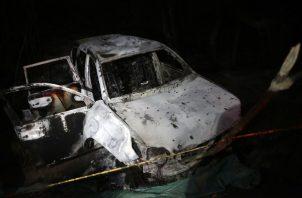 Carro en el que se transportaba Karina García, candidata a la alcaldía de Suaréz en el departamento del Cauca (Colombia), en el que fue asesinada junto a otras 5 personas. FOTO/EFE