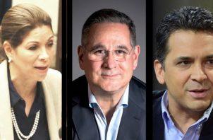 Ana Matilde Gómez (izq.), Marco Ameglio (c ) y Ricardo Lombana (der.) son los independientes que buscan llegar a la presidencia. Foto de archivo