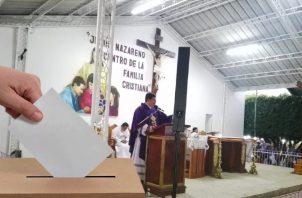 El tema electoral se hizo presente este año en las actividades de Jesús Nazareno de Atalaya.  Cortesía