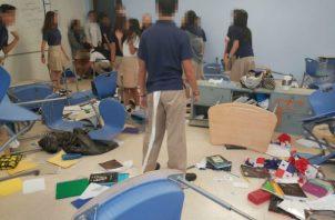 Graduandos del Colegio Panamá vandalizan salón en celebración de 'Prand Day'. Foto: Redes sociales.