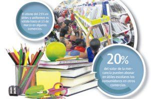 Algunos comercios informan que los útiles escolares pueden ser apartados con el 25% de abono y se pueden retirar hasta el próximo 15 de marzo.