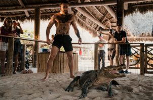 Conor McGregor frente al caimán Foto @thenotoriousmma