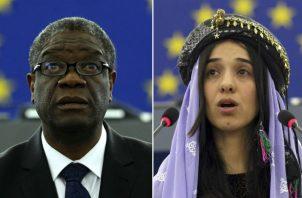 Denis Mukwege y la iraquí Nadia Murad. AP