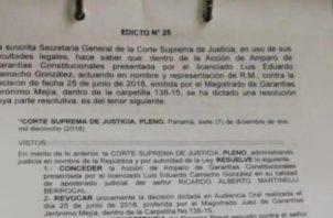 El edicto salió a las 3:00 p.m. de ayer, jueves 3 de enero. /Foto Archivo
