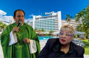 La recepcionista tomó una imagen del circuito cerrado del hotel donde se ve a Valentín Calderón y varios empleados auxiliando a Eduardo Calderón. Foto: Adiel Bonilla.